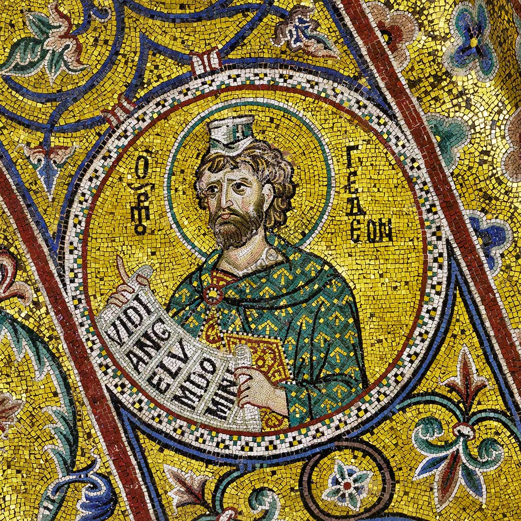 Monreale Cathedral, apsidal arch: Prophet GIdeon, byzantine school mosaic with a golden background. The mosaics of the Cathedral were made between the twelfth and mid-thirteenth century by partly local and partly Venetian workers, trained at the Byzantine school.