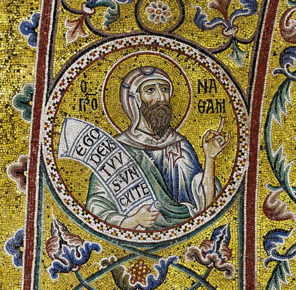 Monreale Cathedral, apsidal arch: Prophet Naum?, byzantine school mosaic with a golden background. The mosaics of the Cathedral were made between the twelfth and mid-thirteenth century by partly local and partly Venetian workers, trained at the Byzantine school.
