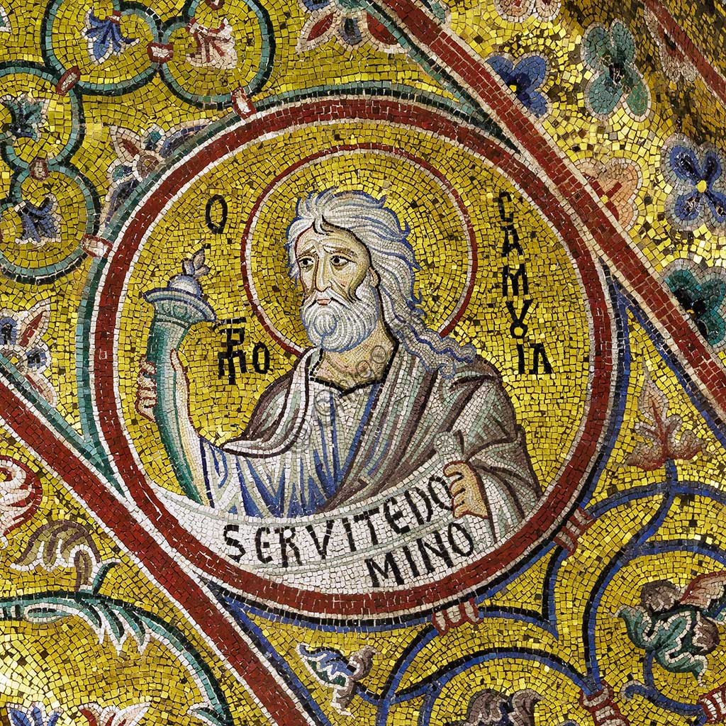 Monreale Cathedral, apsidal arch: Prophet Samuel, byzantine school mosaic with a golden background. The mosaics of the Cathedral were made between the twelfth and mid-thirteenth century by partly local and partly Venetian workers, trained at the Byzantine school.