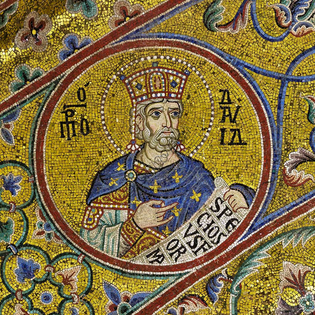 Monreale Cathedral, apsidal arch: King David, byzantine school mosaic with a golden background. The mosaics of the Cathedral were made between the twelfth and mid-thirteenth century by partly local and partly Venetian workers, trained at the Byzantine school.