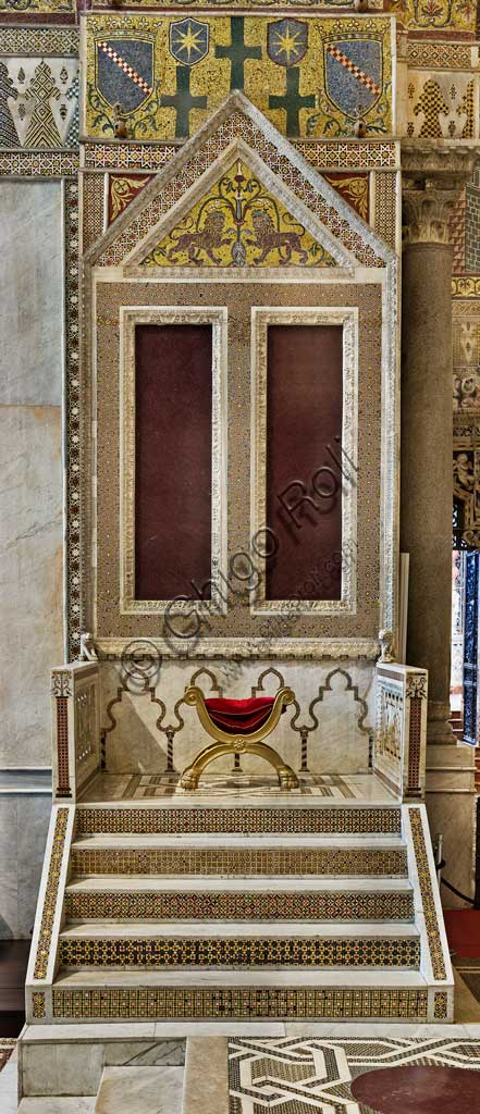 Monreale Cathedral, transept: the royal throne.