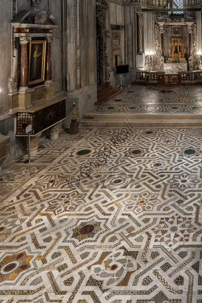 Monreale Cathedral, Northern transept: mosaic floor in opus sectile with geometric motifs. For whatr concerns, the pavement of the cathedral, this sector is the best preserved, almost entirely original: a medieval work dating back to 1177-1183.