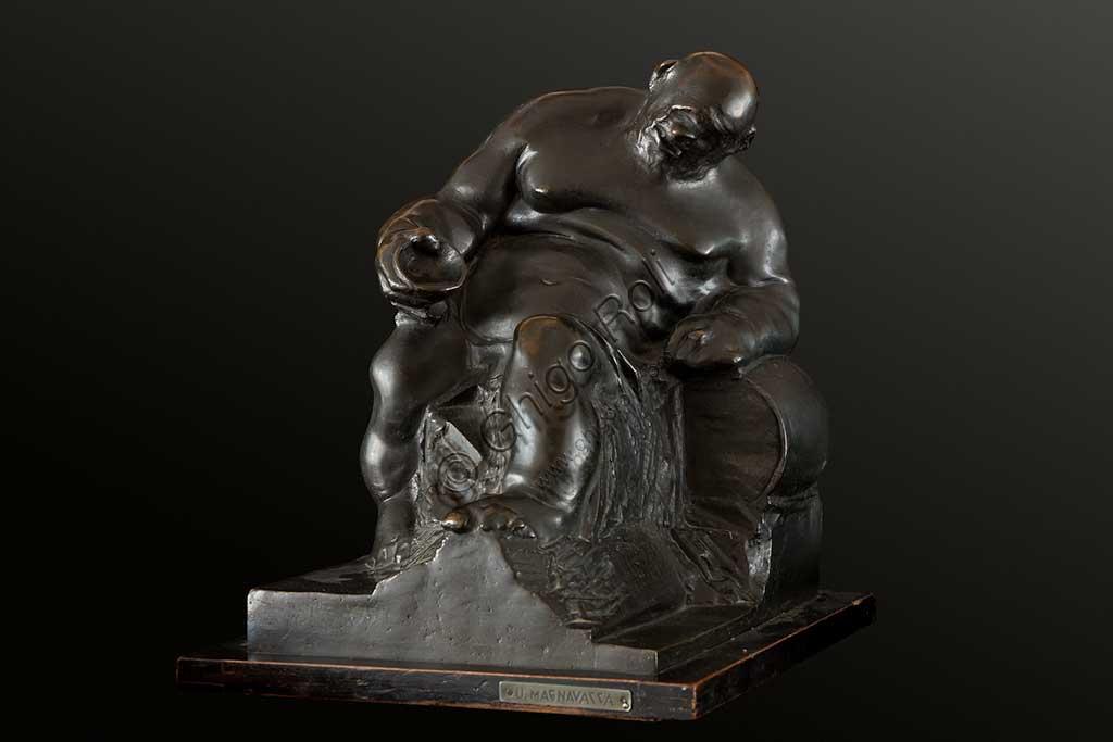 """Collezione Assicoop Unipol:  Ubaldo Magnavacca (1885 - 1957);  """" Ebbrezza""""; bronzo, h. cm. 34."""