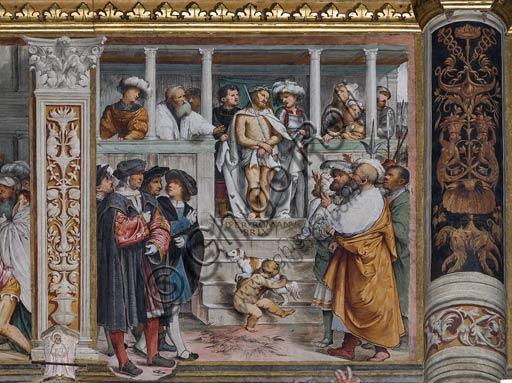 """Cremona, Duomo (Cattedrale di S. Maria Assunta), interno, navata mediana,  tredicesimo arcone: """"Ecce Homo"""", affresco di Girolamo Romanino, 1519."""