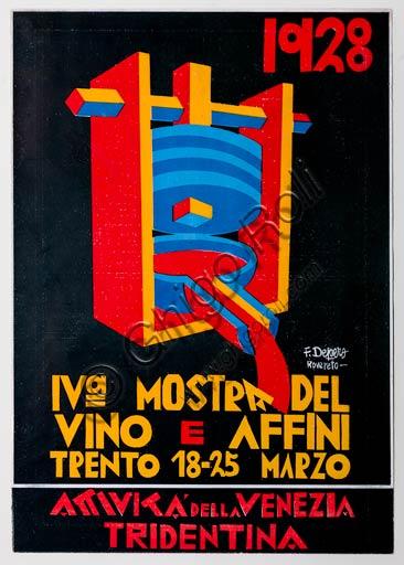 """Rovereto, Casa Depero, sala """"Eco della Stampa"""":  copertina per catalogo della """"IV Mostra del vino e affini"""" di Fortunato Depero, 1928."""