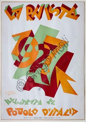 """Rovereto, Casa Depero: room """"Eco della Stampa"""": cover for the magazine """"La Rivista Illustrata del Popolo d'Italia"""" by Fortunato Depero, 1927."""