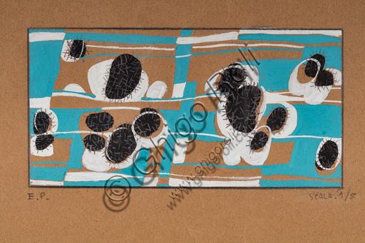 "Assicoop - Unipol Collection: Enrico Prampolini (1894, 1956), ""Decoration Element"", tempera on paper, cm 20 X 28,5."