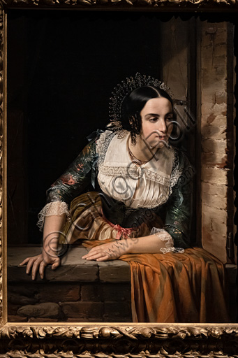"""Eliseo Sala """" Lucia Mondella at the window, waiting for her betrothed to return on the day of their wedding"""", oil painting, 1852."""