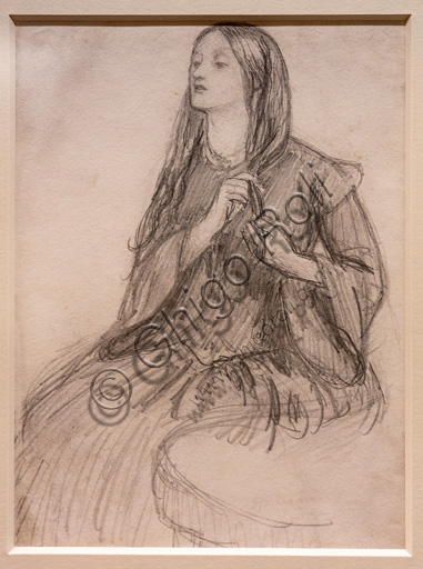 """Elizabeth Siddal plaiting her Hair"", (1855) by Dante Gabriel Rossetti (1828-1882); graphite on paper"