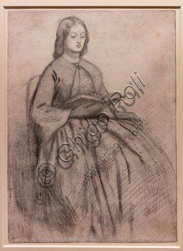 """Elizabeth Siddal sitting on a chair"", (1855) by Dante Gabriel Rossetti (1828-1882); graphite on paper"