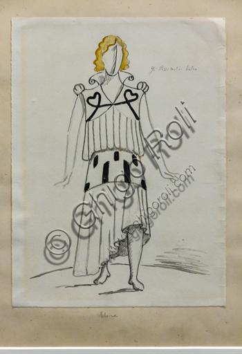 """Museo Novecento: """"Elvira per I Puritani, di Vincenzo Bellini"""", di Giorgio De Chirico, 1933. Matita e tempera acquarellata su carta."""