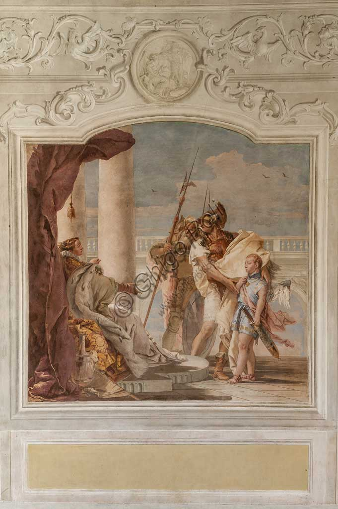 "Vicenza, Villa Valmarana ai Nani, Palazzina (Small Building), the third room or room of the Aeneid: ""Aeneas introduces Eros to Didone in the likeness of Ascanius"". Frescoes by Giambattista Tiepolo, 1756 - 1757."