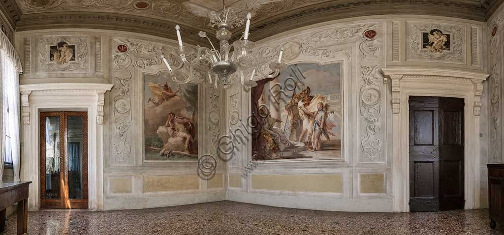 "Vicenza, Villa Valmarana ai Nani, Palazzina (Small Building): the third room or room of the Aeneid. On the left ""Enea dreams of Mercury who orders him to leave""; on the right ""Aeneas introduces Eros to Didone in the likeness of Ascanius"". Frescoes by Giambattista Tiepolo, 1756 - 1757."
