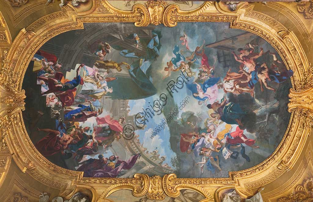 "Turin, the Royal Palace, The Royal Armoury, the Beaumont Gallery, the vault, frescoes about the stories of the Aeneid: ""Enea visits Dido"". Fresco by Claudio Francesco Beaumont, 1737 - 42."