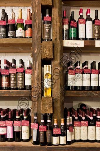 "Wineshop ""La corte del vino"": bottles of  Valtellina wine."