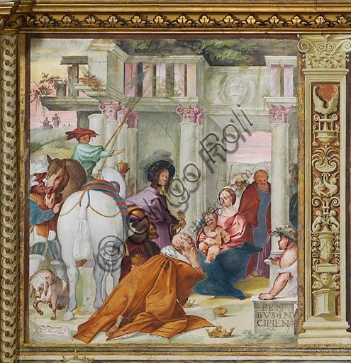"""Cremona, Duomo (Cattedrale di S. Maria Assunta), interno, navata mediana, prima campata sinistra, quinto arcone: """"Epifania"""", affresco di Giovanni Francesco Bembo, 1515."""