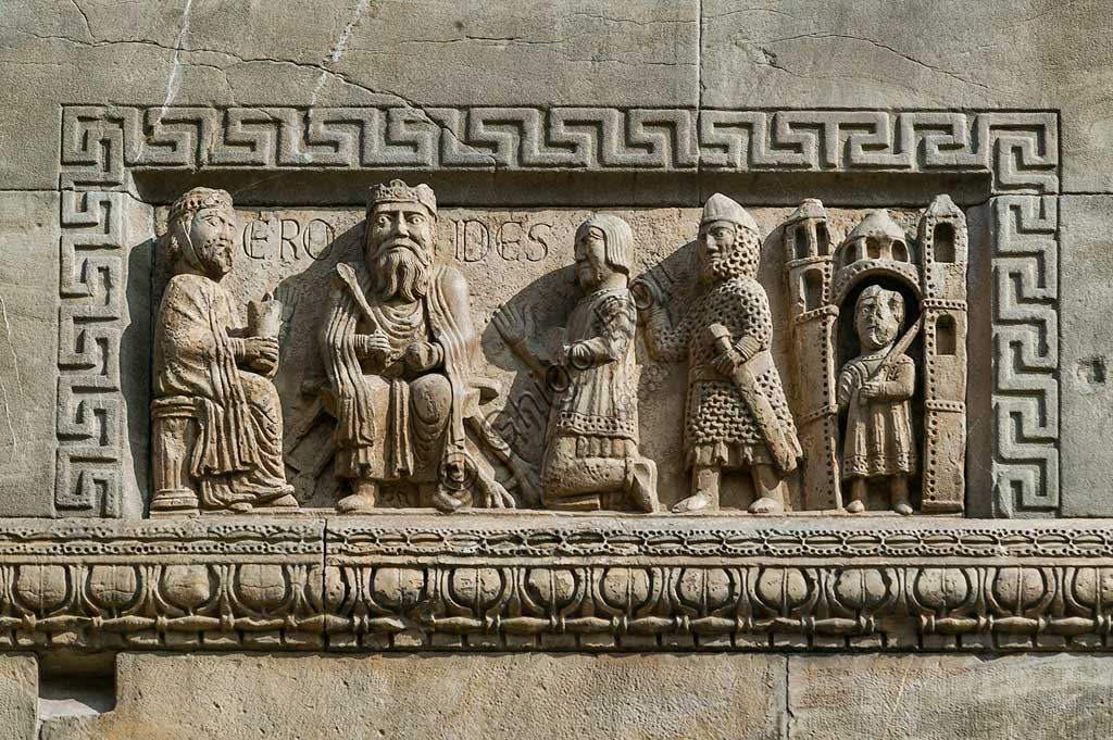 "Fidenza, Duomo (St. Donnino Cathedral), Façade: the bas-relief with ""King Herod enthroned"". Work by Benedetto Antelami and his workshop."