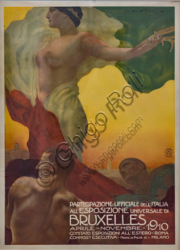 """""""National Exposition in Bruxelles"""", poster by Marcello Dudovich, 1910, lithograph on paper."""