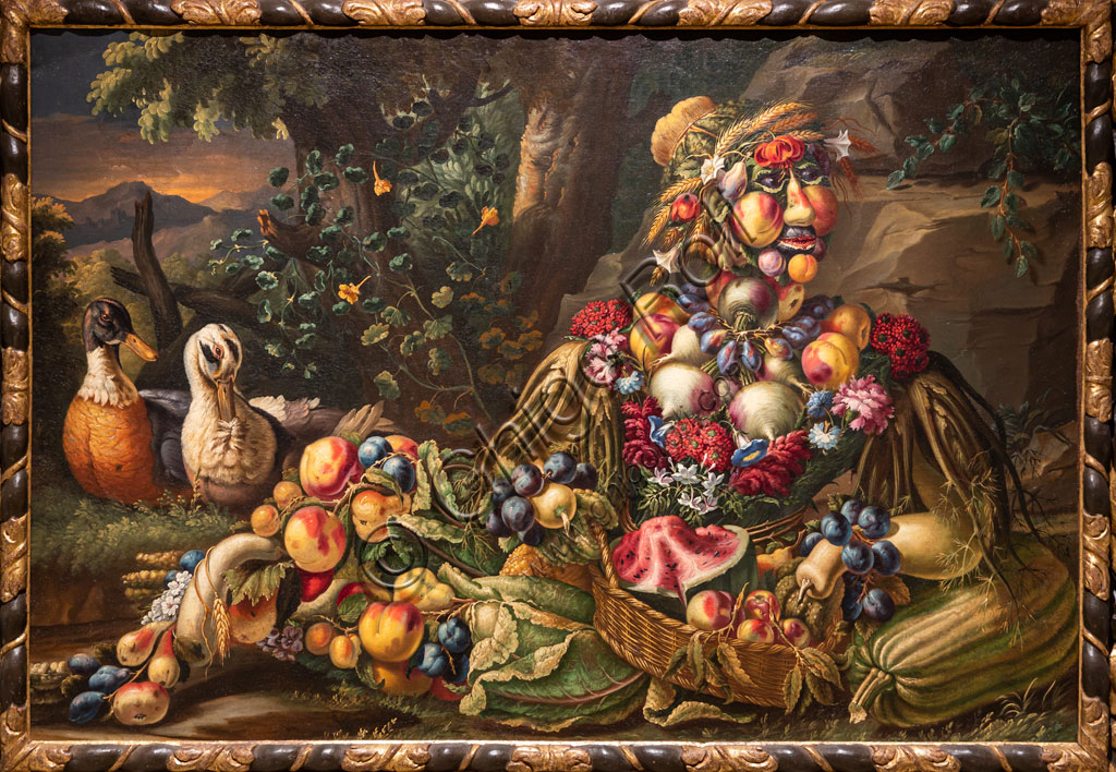 "Brescia, Pinacoteca Tosio Martinengo: ""Summer"", oil on canvas by Antonio Rasio inspired by the Metamorphoses by Ovid. The fanciful composition of seasonal fruits and flowers is as seen in paintings by Arcimboldo."