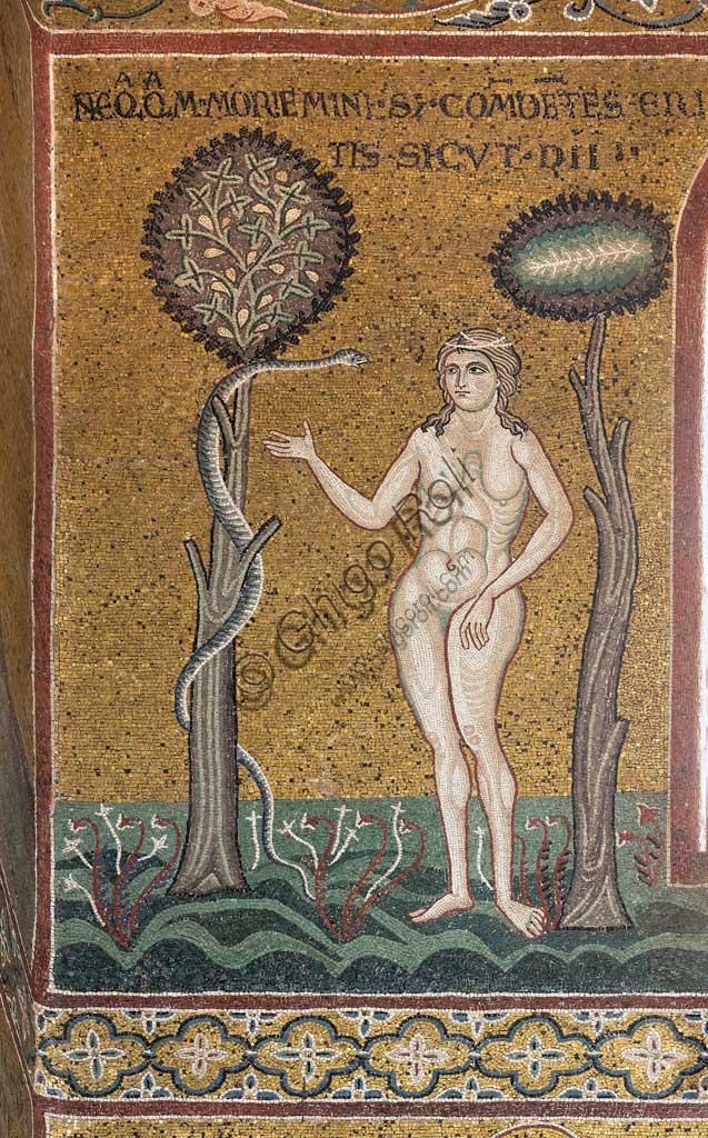 "Monreale, Duomo: ""Eve and the tempting serpent"", Byzantine mosaic, Old Testament cycle - Earthly Paradise, XII - XIII century.Latin inscription:  ""NEQUAQUAM MORIEMINI SI COMEDOETIS ERITIS SICUT DII""."