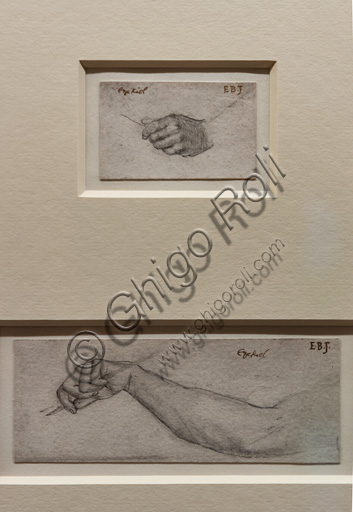 """Study of Ezekiel's hand and arm for """"Ezekiel and the boiling pot"""", (1860)  by Edward Coley Burne Jones (1833 - 1895), graphite on paper."""