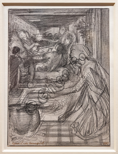 """Study for """"Ezekiel and the boiling pot"""", (1860)  by Edward Coley Burne Jones (1833 - 1895), graphite on paper."""