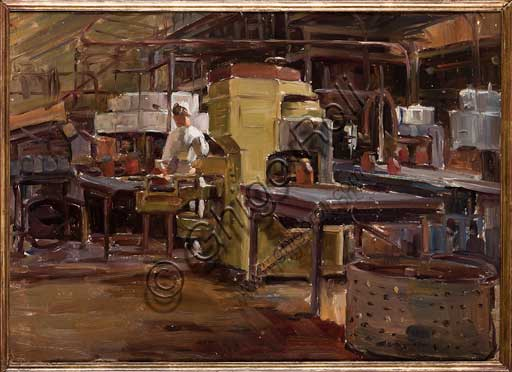 "Assicoop - Unipol Collection: Arcangelo Salvarani (1882 - 1953), ""Jam Factory"". Oil painting on plywood."
