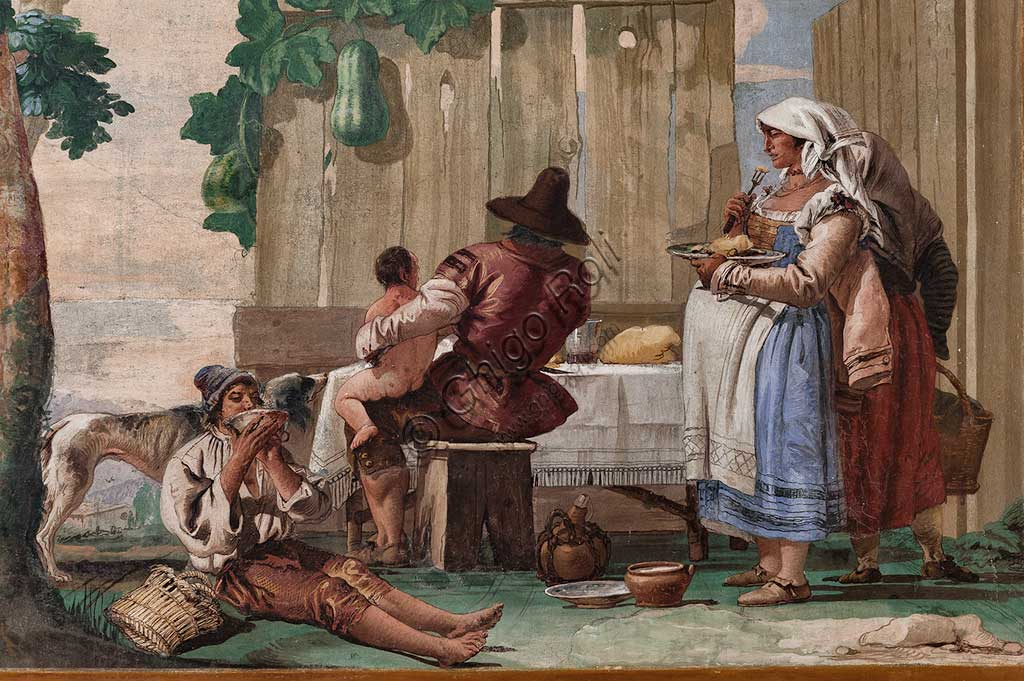 "Vicenza, Villa Valmarana ai Nani, Guest Lodgings, Room of the Rural Scenes: ""The Peasant's Family at Supper"". Frescoes by Giandomenico Tiepolo, 1757. Detail."
