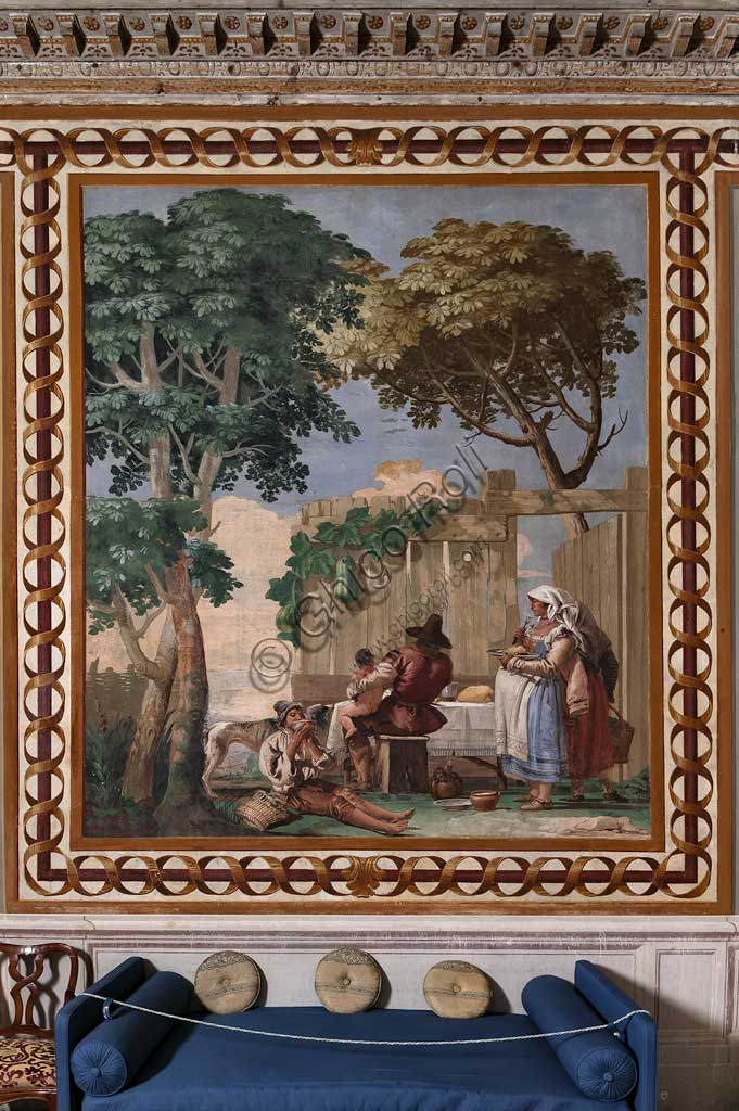"Vicenza, Villa Valmarana ai Nani, Guest Lodgings, Room of the Rural Scenes: ""The Peasant's Family at Supper"". Frescoes by Giandomenico Tiepolo, 1757."