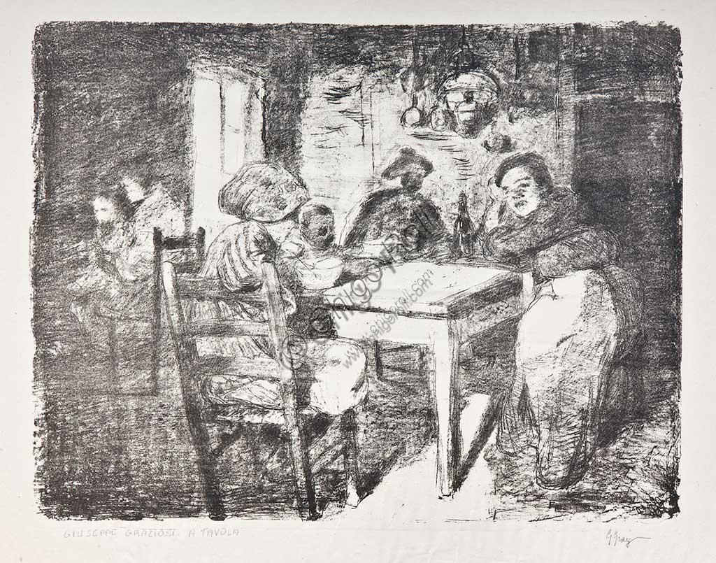 "Collezione Assicoop Unipol:  Giuseppe Graziosi  (1879-1942), ""Famiglia in cucina""; litografia."