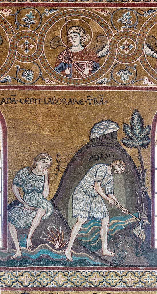 "Monreale, Duomo: ""The labours and the work of Adam and Eve"", Byzantine mosaic, Old Testament Cycle - Earthly Paradise, XII - XIII century.Latin inscription:  ""ADAM CEPIT LABORARE TERRAM""."