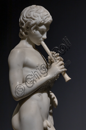 """Faun playing the Flute"", 1859, by Pietro Tenerani (1789-1869), Carrara marble."