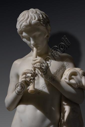 """""""Fauno in atto di suonare la tibia"""", 1859, di Pietro Tenerani (1789-1869), marmo di Carrara."""