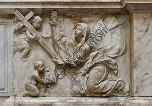 """Genova, Duomo (Cattedrale di S. Lorenzo),  interno, braccio meridionale del transetto, Altare di San Giuseppe: """"La Fede"""", di bottega genovese (sec. XVI)."""