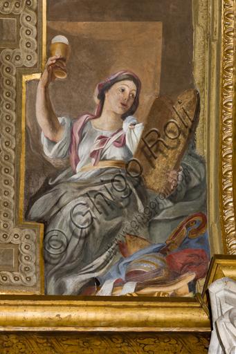 """Genova, Duomo (Cattedrale di S. Lorenzo),  interno, Cappella Senarega o di Nostra Signora del Soccorso (abside meridionale), volta: """"Fede"""", di Giovanni Andrea Carlone (1690 circa)."""