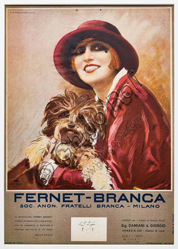 """""""Fernet Branca. Nella Regini with a dog in her arms"""", Illustration by Marcello Dudovich, 1926, chromolithography on paper."""