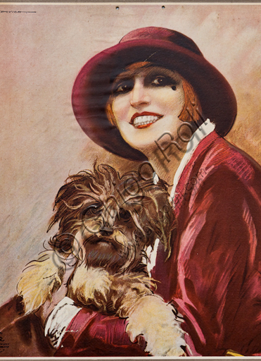"""""""Fernet Branca. Nella Regini with a dog in her arms"""", Illustration by Marcello Dudovich, 1926, chromolithography on paper. Detail."""