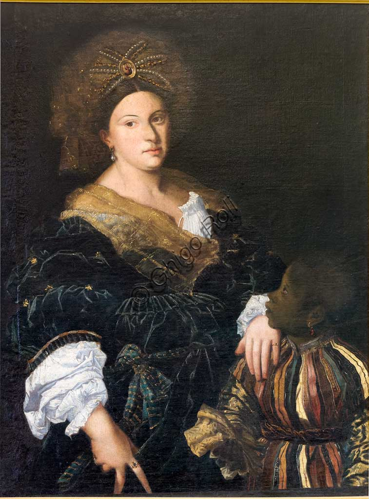 Ferrara, Castello Estense (the Estense Castle), also known as Castle of St. Michael: Portrait of Laura Dianti,  also known as Eustochia. She was  Alfonso I d'Este's lover and after the death of his wife Lucrezia Borgia she probably became his third wife. Painting of the XVII century.