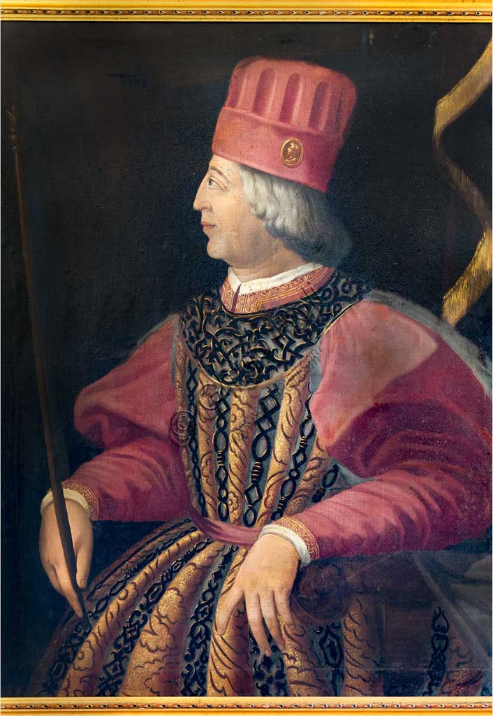 Ferrara, Castello Estense (the Estense Castle), also known as Castle of St. Michael: Portrait of Borso d'Este, XIX century.