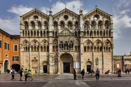 Ferrara, piazza della Cattedrale (the Cathedral Square): view of the Cathedral, dedicated to St. George and inaugurated in 1135.