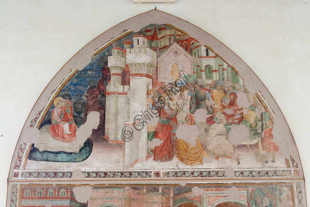 Ferrara, Pinacoteca Nazionale: fresco detached from the Church of San Domenico on the subject of the Stories of St. John the evangelist, by Maestro G.Z. (Michele dai Carri?), 15th century. Detail.