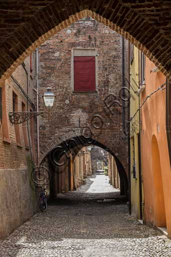 Ferrara: partial view of Delle Volte Street (seat of the warehouses of the Medieval merchants)