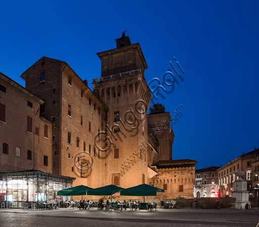 Ferrara: night view of eastern side of the Castello Estense (the Estense Castle), also known as Castle of St. Michael.