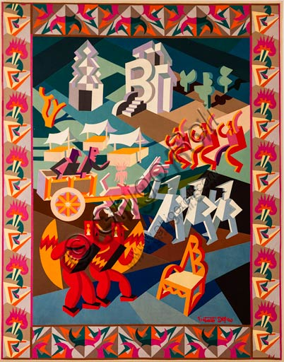 "Rovereto, Casa Depero: ""Festa della sedia"" (""Feast of the Chair""), textile intarsia work by Fortunato Depero, 1927."