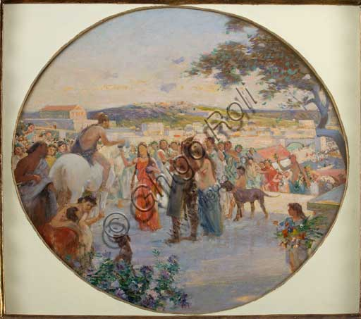 "Assicoop - Unipol Collection: Achille Boschi (1852 - 1930), ""Spring Celebration in Ancient Rome"". Oil paiting on canvas glued on cardboard."