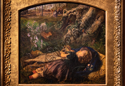 """""""The Woodman's Child"""",  (1860), by Arthur Hughes (1832 - 1915); oil on canvas."""