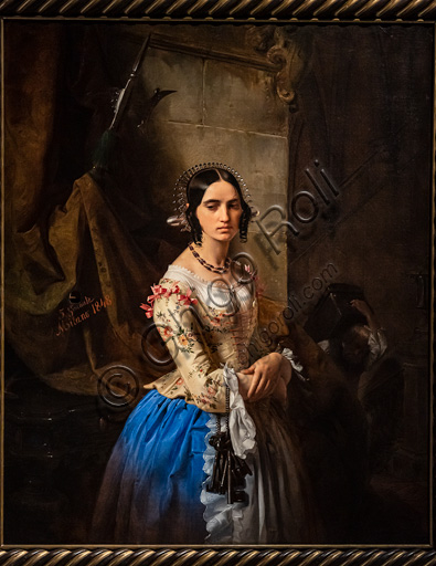 """Giuseppe Molteni: """"The castle guardian's daughter"""", oil painting, 1844."""