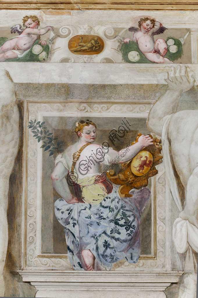 Caldogno, Villa Caldogno, main hall:  detail of a female figure holding the heraldic coat of arms of the Caldogno family. Fresco by Giovanni Antonio Fasolo, about 1570. Detail.