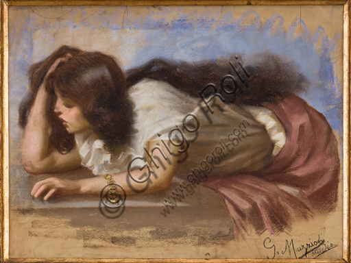 "Assicoop - Unipol Collection: Giovanni Muzzioli (1854 - 1894), ""Female Figure"", Pastel."