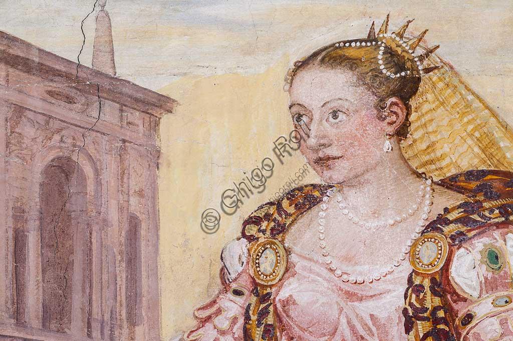 """Thiene, Villa Porto Colleoni (also known as Castle in Thiene), Camerone: """"The Clemency of Scipio"""", frescoes by Giovanni Antonio Fasolo (c. 1560-1565). Detail with female figure."""